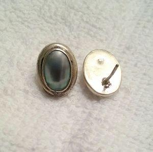 Vintage Sterling Silver Blue Pearl Earrings